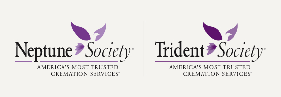 Neptune Society and Trident Society logo with gray background