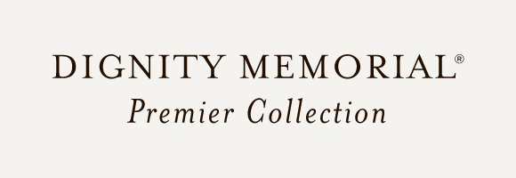 Dignity Memorial Premier Collection logo with gray background
